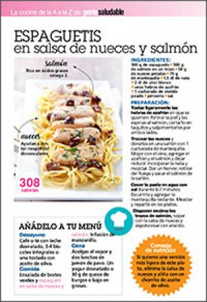 Espagueti en salsa de nueces y salmón