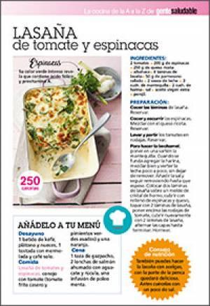 Lasaña de tomate y espinacas