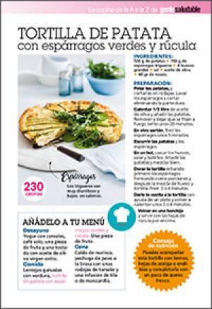Tortilla de patata con espárragos verdes y rúcula